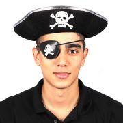 Chapéu Pirata Unissex Borda Prata