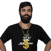 Colar Corrente com Cifrão Dólar de 10cm Dourada