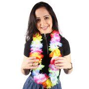 Colar Havaiano Luxo - Flores Grandes Coloridas - Degradê
