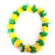 Colar Havaiano de Tecido Verde e Amarelo