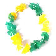 Colar Havaiano de Plástico Verde e Amarelo