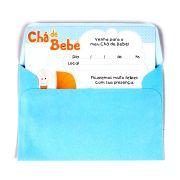 Convite Chá De Bebê Menino Com Envelope 8Un