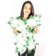 Estola Boá de Plumas Brancas com Pontas Verdes