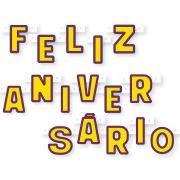 Faixa Feliz Aniversário Amarela