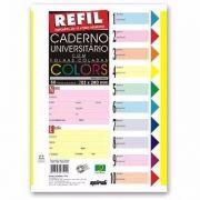 Folha Fichário C/500 Fls Coladas Refil Color 4 Furos