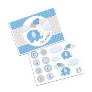 Kit Decorativo Chá de Bebê Elefantinho Azul