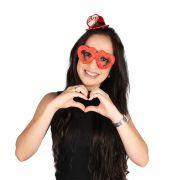 Kit Óculos e Mini Chapéu Vermelho Love
