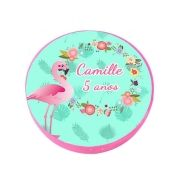 Lembrancinha Potinho de Plástico Personalizado Flamingo Flor