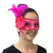 Máscara de Luxo para Festas com Penas e Flor Sortidas