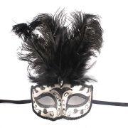Máscara Veneziana Super Luxo com Penas Pretas