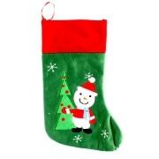 Enfeite Meia de Natal com Boneco de Neve Bordado