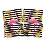 Painel Decorativo 4 Lâminas Flamingo