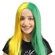 Peruca Longa Verde e Amarelo Torcida Brasil