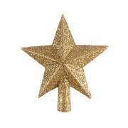 Ponteira Estrela de Natal 5 Pontas com Glitter Dourado