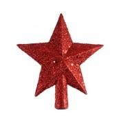 Ponteira Estrela de Natal 5 pontas com Glitter Vermelho