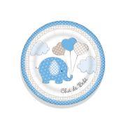 Prato Redondo 18cm Chá de Bebê Elefantinho Azul 8 un.