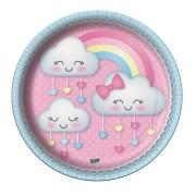 Prato Redondo 18cm Nuvens Chuva de Amor - 8 unidades
