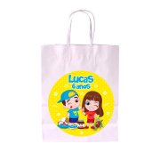 Sacola de Papel Branca Personalizada Luccas Neto