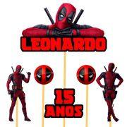 Topo de Bolo Deadpool com Nome e Idade