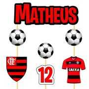 Topo de Bolo Flamengo com Nome e Idade