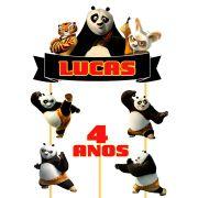Topo de Bolo Kung Fu Panda com Nome e Idade