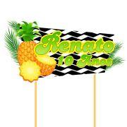Topo de Bolo Personalizado Abacaxi Tropical