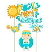 Topo de Bolo Personalizado Pool Party