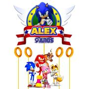 Topo de Bolo Sonic com Nome e Idade