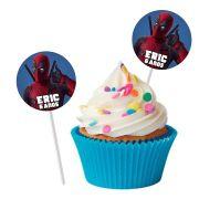 Topper Redondo para Doces Personalizado 15un Deadpool