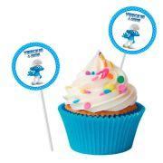 Topper Redondo para Doces Personalizado 15un Smurfs