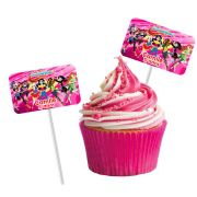 Topper Retangular para Doces Personalizado 15un DC Super Hero Girls