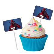 Topper Retangular para Doces Personalizado 15un Deadpool