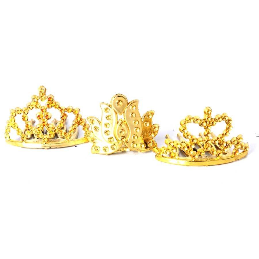 25 Mini Coroa De Princesa Pente - Dourada