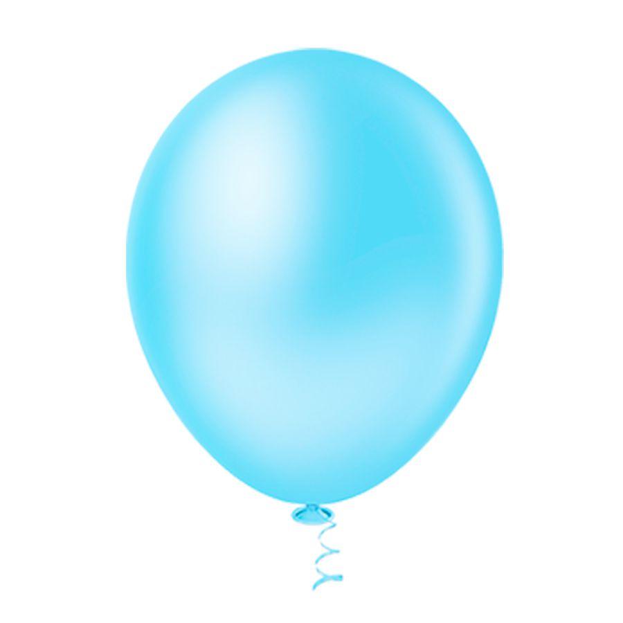 Balão Látex Azul Claro 10 Polegadas - 50 Unidades