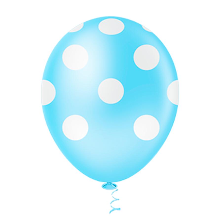 Balão Látex Poá Azul Claro 10 Polegadas - 25 Unidades