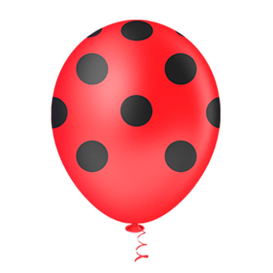 Balão Látex Poá Vermelho e Preto 10 Polegadas - 25 Unidades