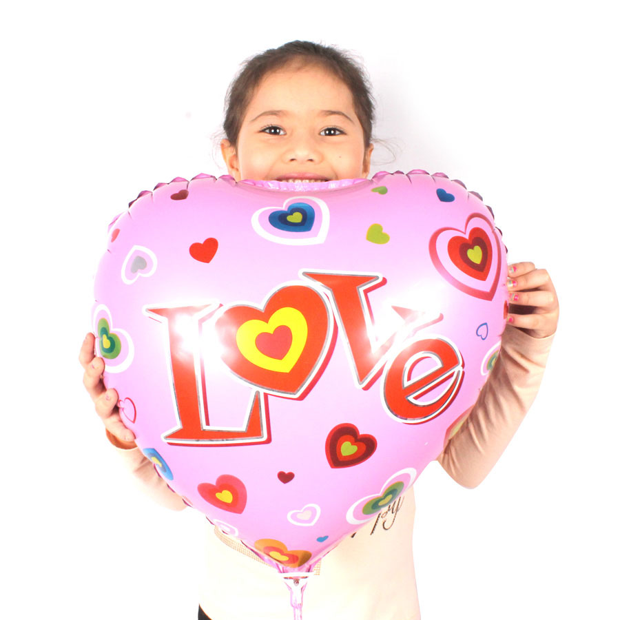 Balão Metalizado Coração Love Rosa