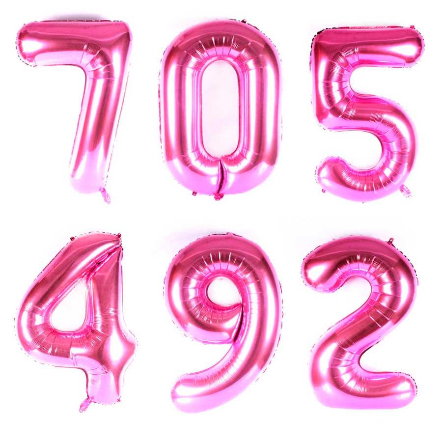 d2a2b5dd7 Balão Metalizado Números Gigante Super Shape Rosa 90cm - Aluá Festas