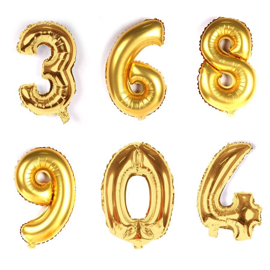 b6391a153 Balão Metalizado Números Gigante Super Shape Dourado 90cm - Aluá Festas
