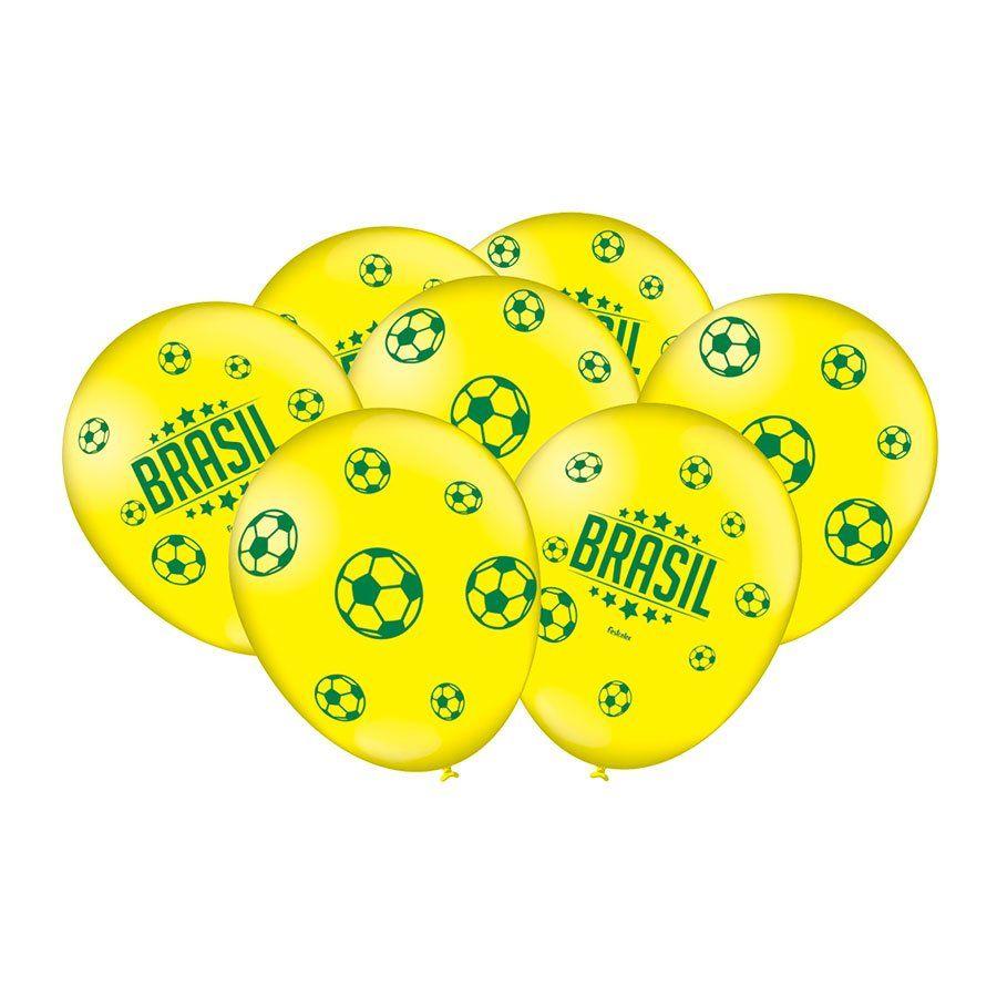 Balão Amarelo Brasil e Futebol Nº 9 Copa 2018 - 25 Unidades