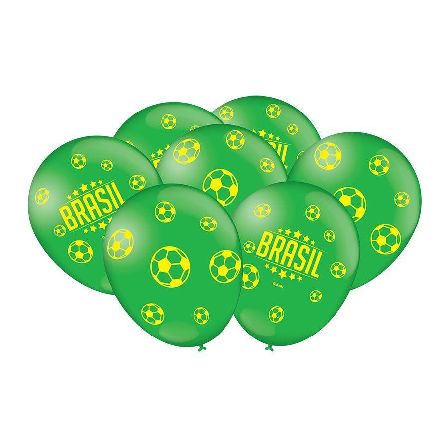 Balão Verde Brasil e Futebol Nº 9 Copa 2018 - 25 Unidades