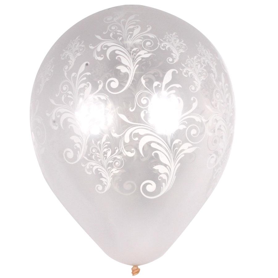 Balão Pic Pic Arabesco Nº10 C/ 25Un Transparente e Branco