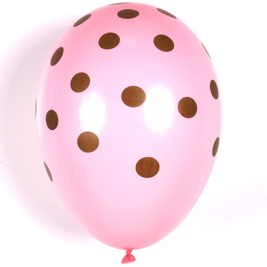 Balão São Roque Nº 9 C/25 Poá Rosa Com Marrom