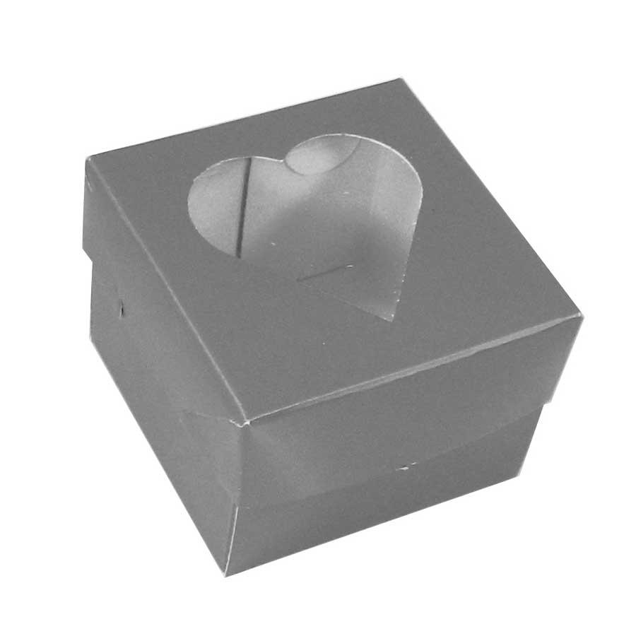 Caixinha de Papel Coração com Visor Prata 10Un.