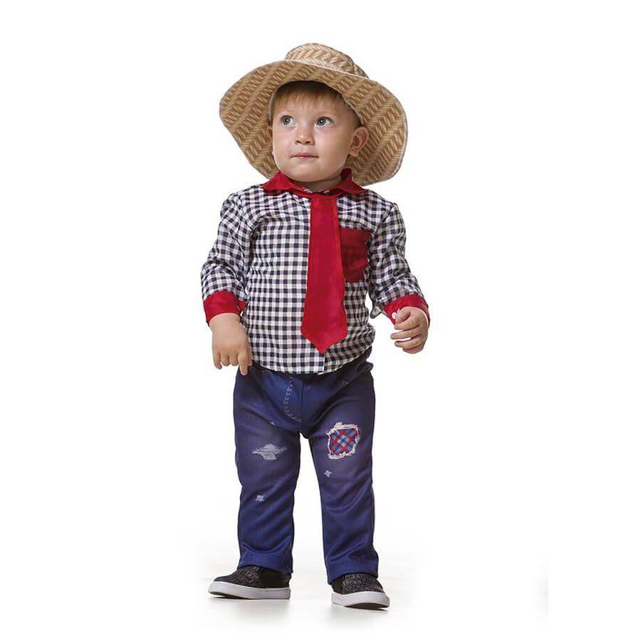5a3a38050dbf4 Camisa Xadrez Baby Festa Junina com Gravata Borboleta - Aluá Festas