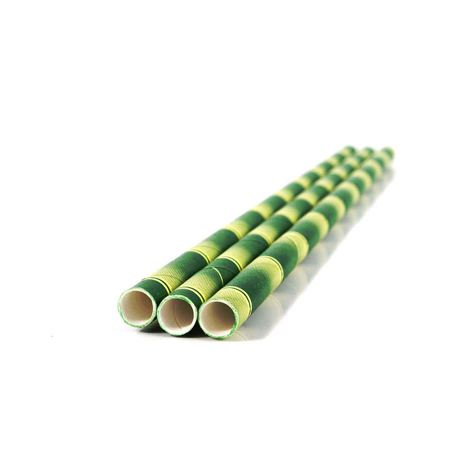 Canudo De Papel Vintage Bambu Verde 12Un