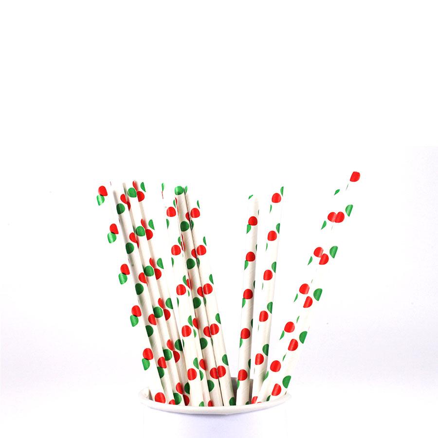 Canudo De Papel Vintage Branco Com Bolas Verde E Vermelha 12Un