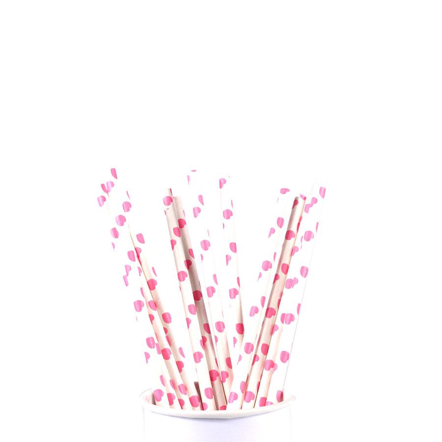 Canudo De Papel Vintage Branco Com Corações Pink 12Un