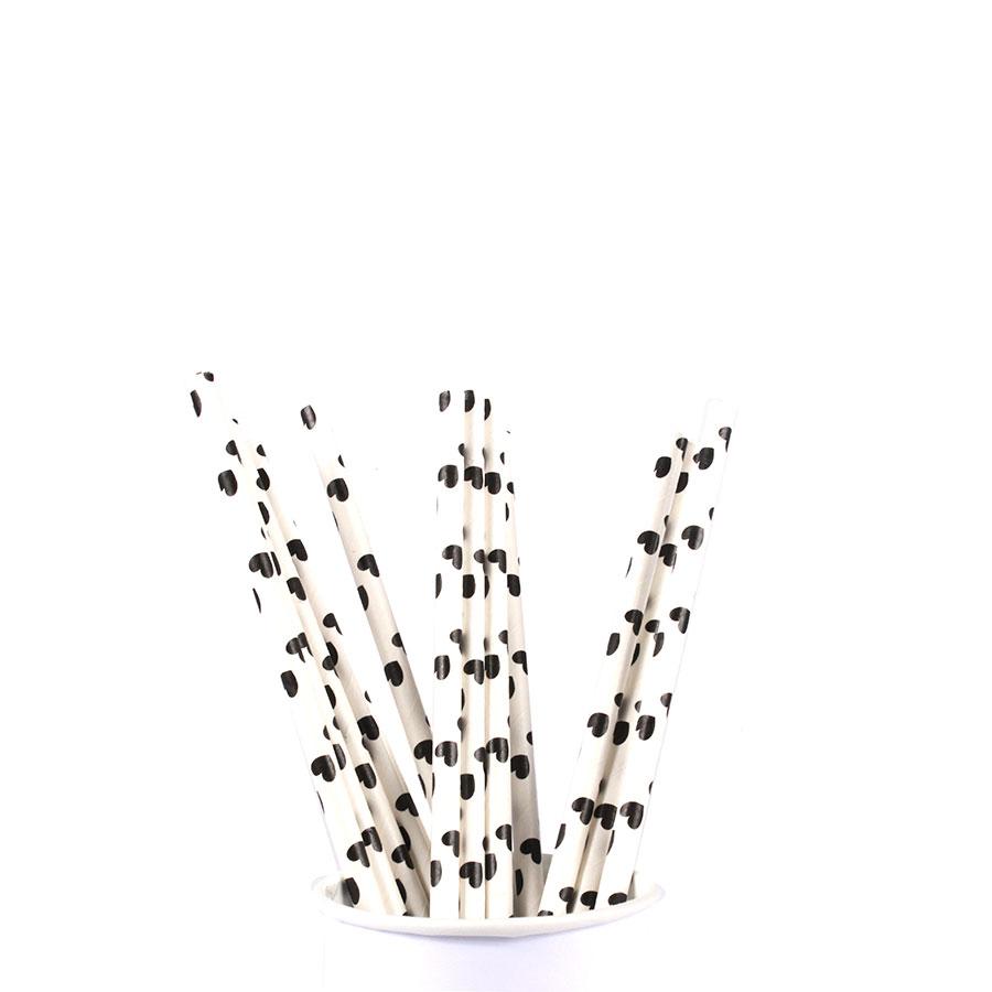 Canudo De Papel Vintage Branco Com Corações Preto 12Un