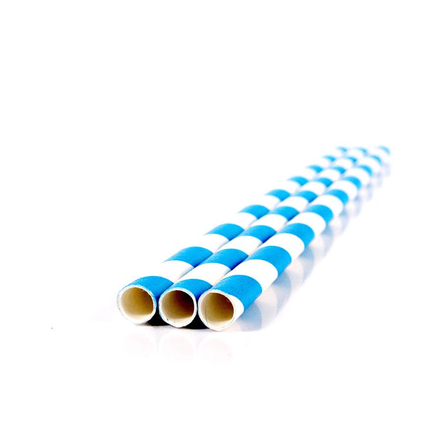 Canudo De Papel Vintage Branco Com Listras Azuis 12Un